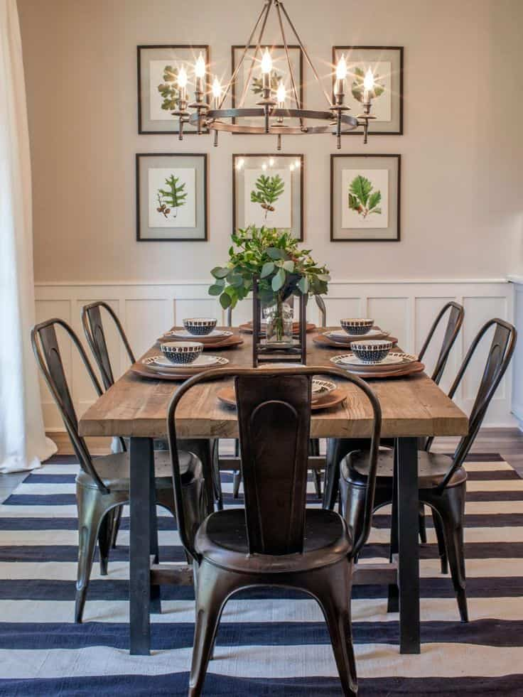 metal and wood neutral casual dining room