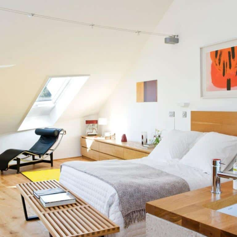 midcentury modern attic bedroom