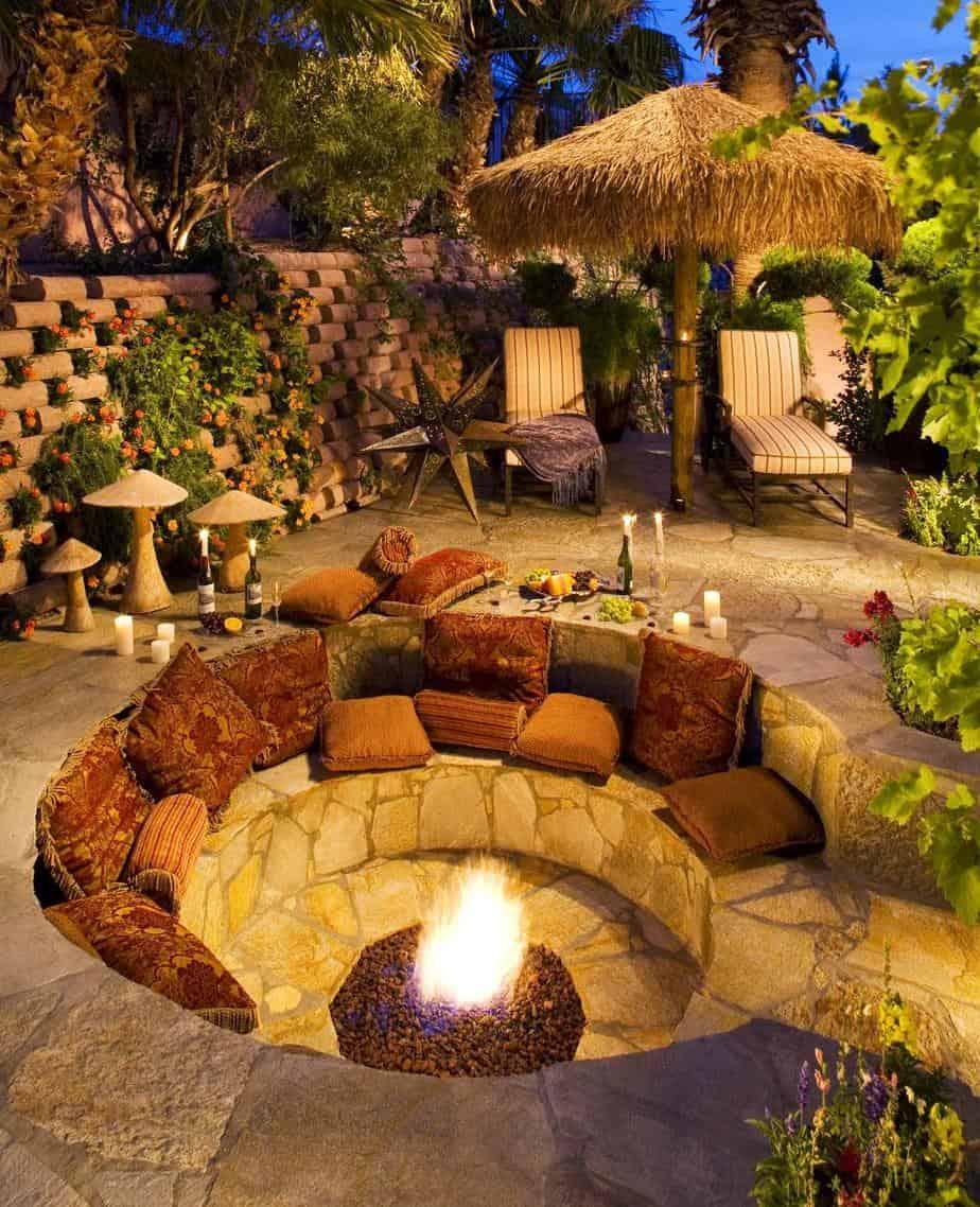 outdoor backyard conversation pit