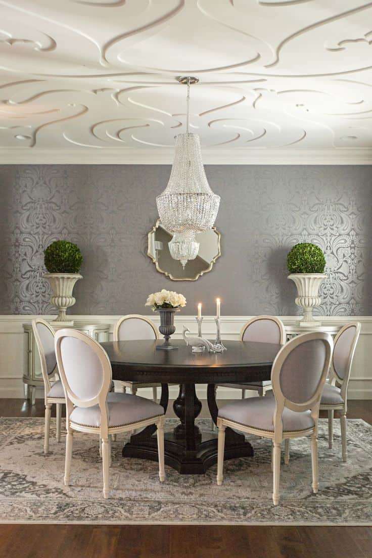 Wallpaper For Dining Room Ideas Part - 15: Sophisticated Railing Effect