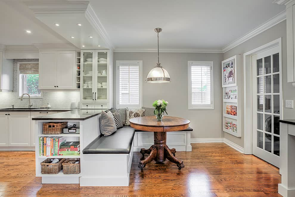 small breakfast nook with banquette seating