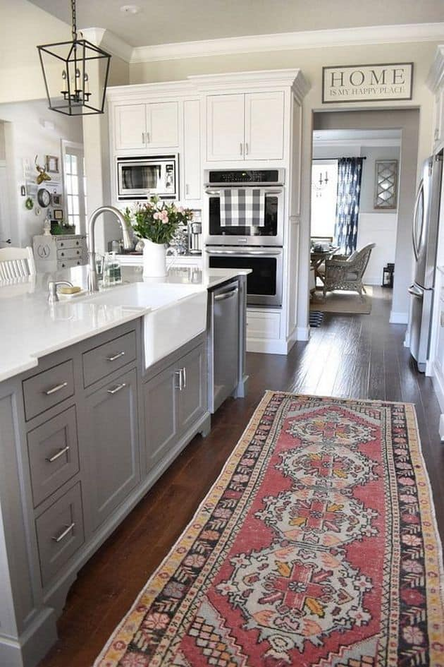 traditional boho grey and white kitchen