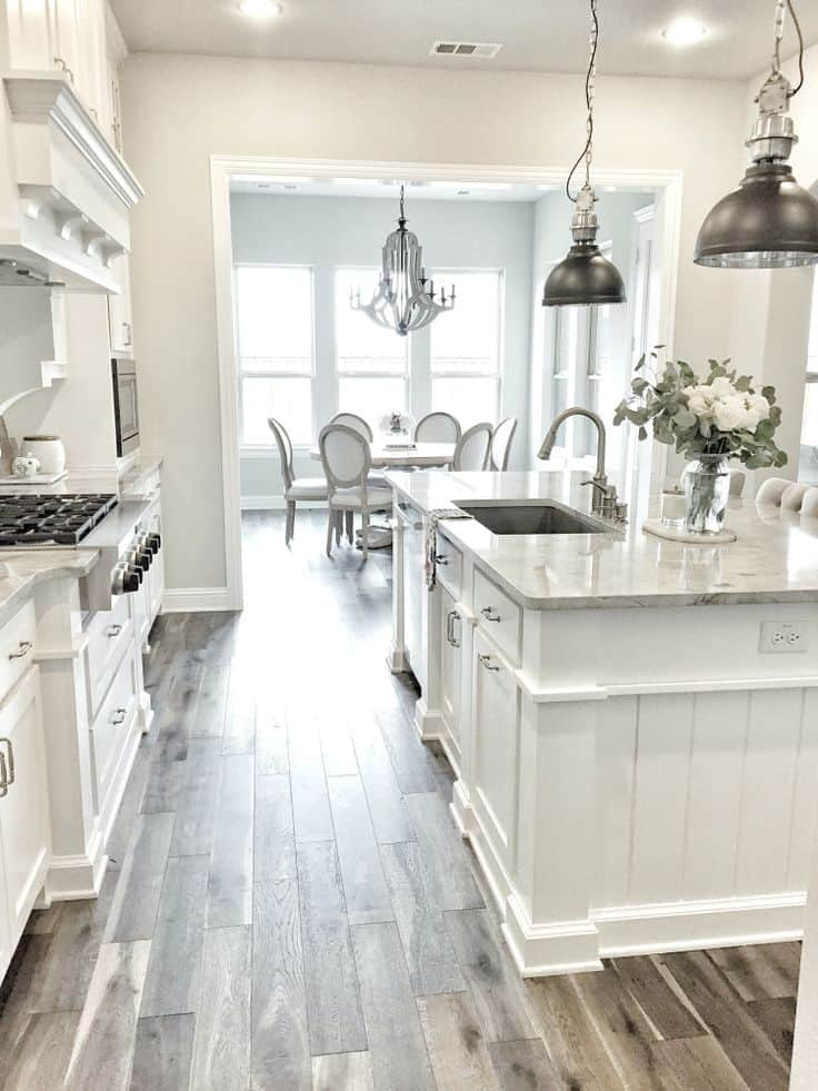 White Kitchen Cabinets with Gray Floors