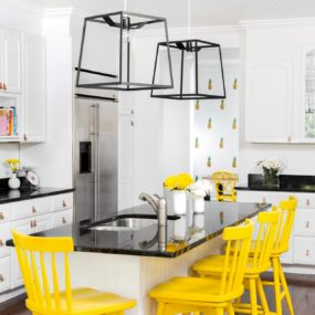 Bold bar stools are great because of how brightening they are in a kitchen space.