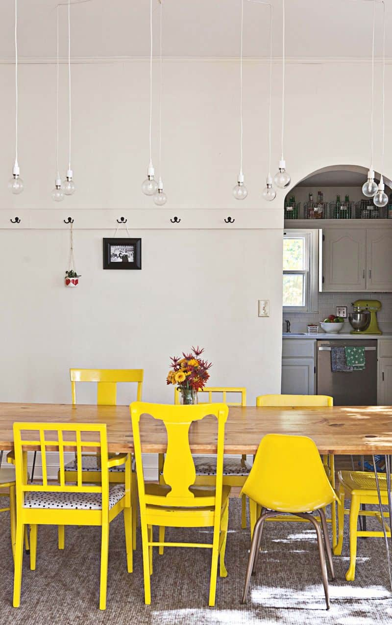 yellow casual dining room