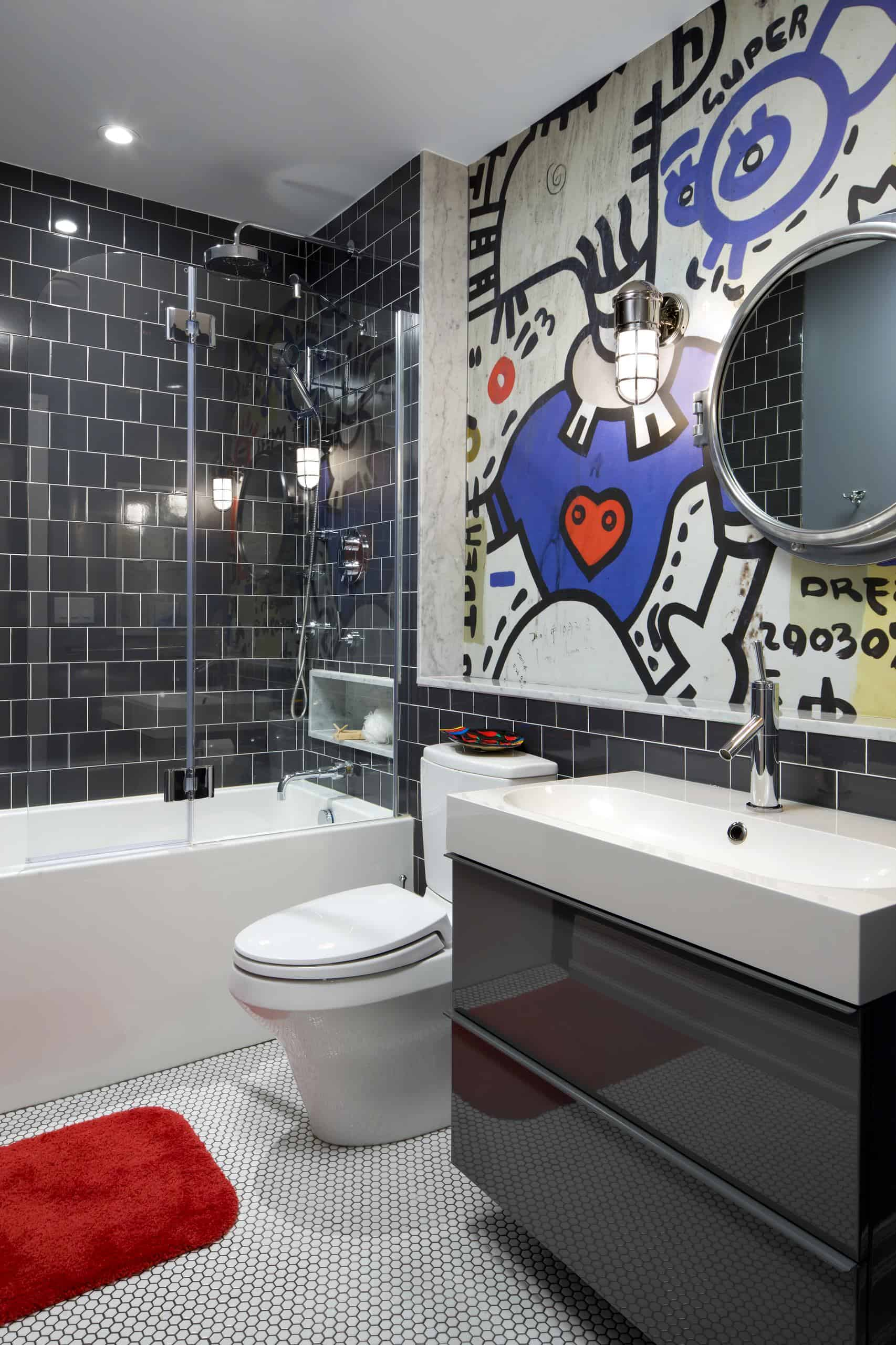 The bathroom or powder room are the perfect areas to add a street art touch because of how small the area can be.