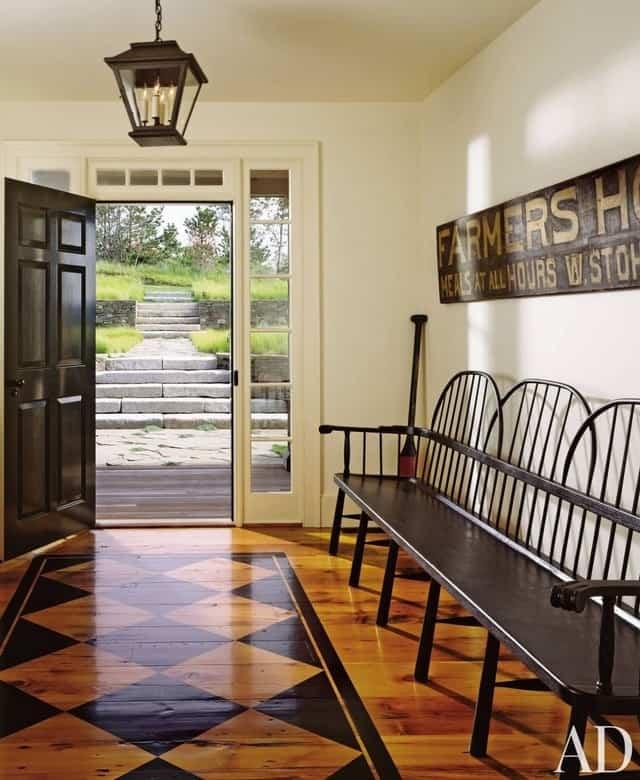 black hardwood floor painted design
