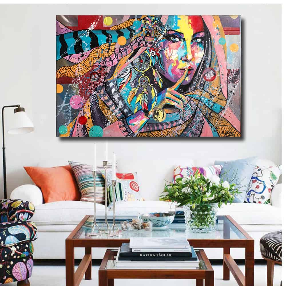 Go bold or go home is the perfect way to explain decorating with such a bold piece of art.