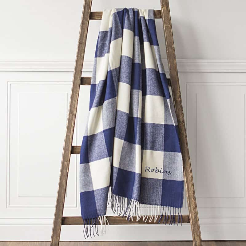 buffalo check blue and white blanket
