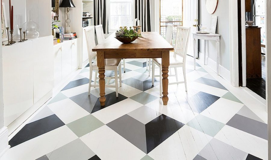 diy painted neutral design floor 900x534 15 Painted Floors That Will Make You Want To Grab A Paintbrush