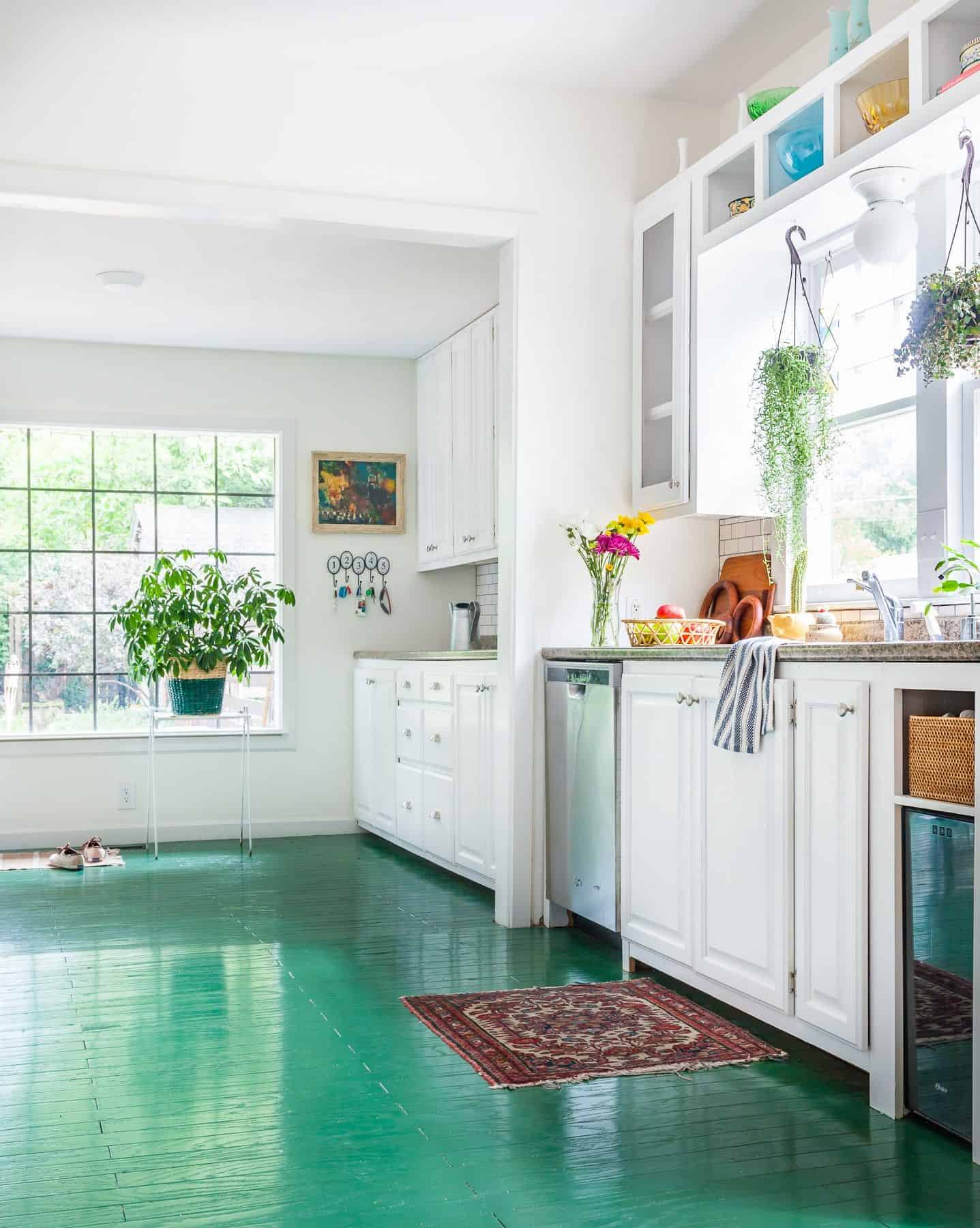 emerald green painted floors