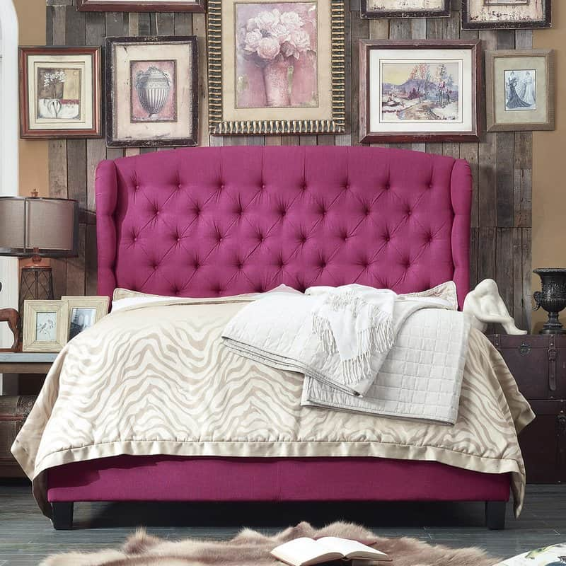 felisa hot pink upholstered panel bed