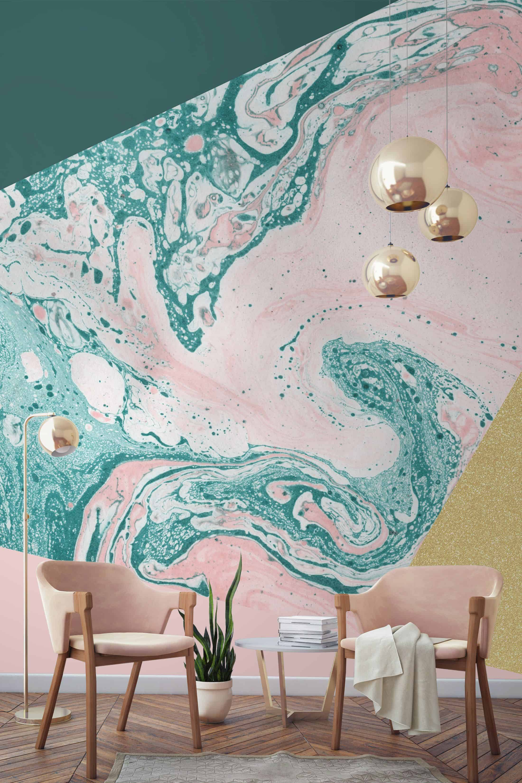 Add a few pieces that match the wallpaper for the ultimate contrast.
