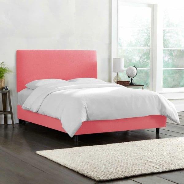 linen custom pink bed