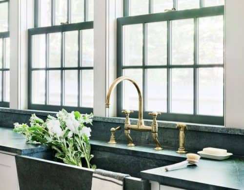 Not only will this allow the sink to become the focal point of the kitchen but it will provide a color palette that still appears neutral.