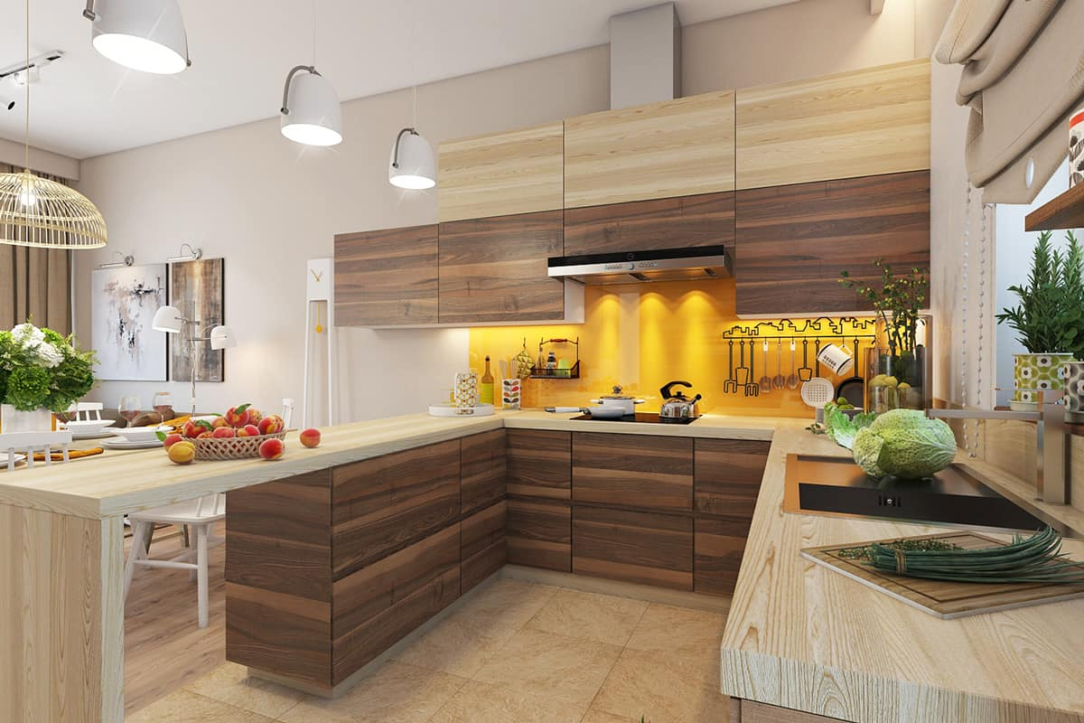 For that masculine appeal apply a bold mustard accent wall in a wooden filled kitchen