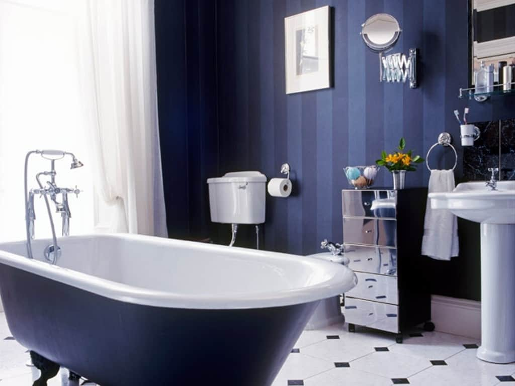 View In Gallery Navy Blue Hues The Bathroom 11 Colors That Will Totally Make Your Look Expensive