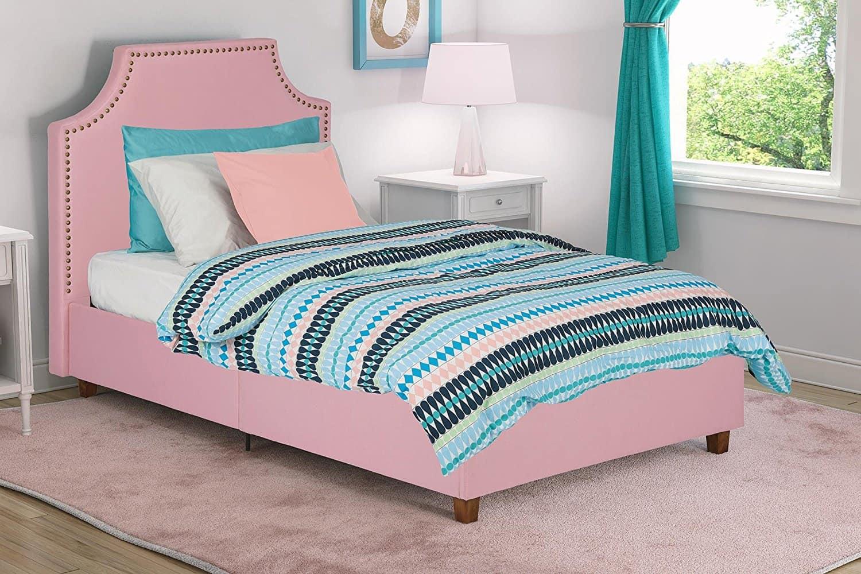 pink platform bed with hardware