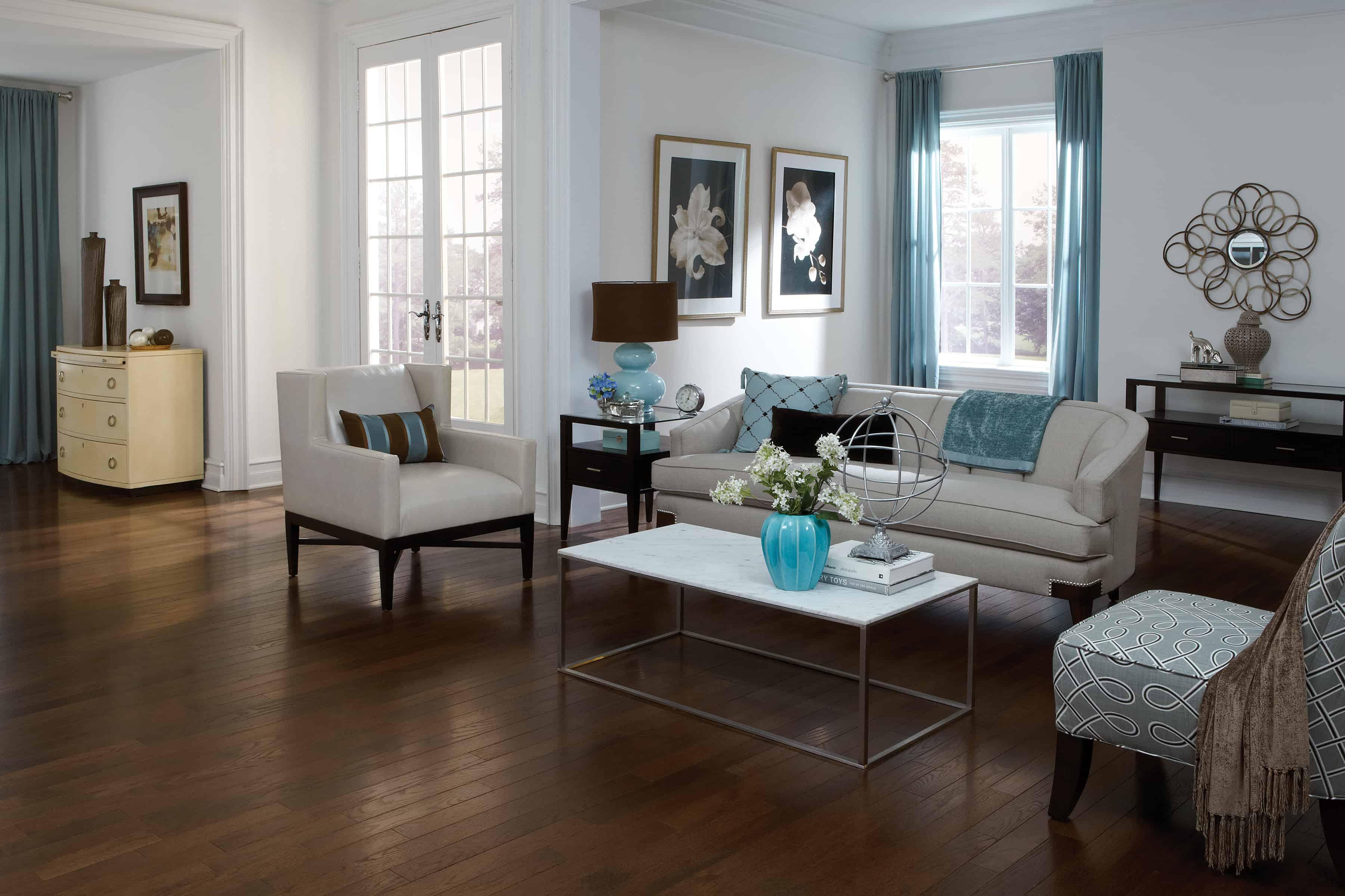 red oak living room flooring