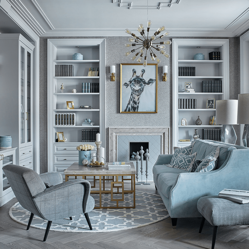 Consider having the pastel sofa be the one piece in the room with that color palette.