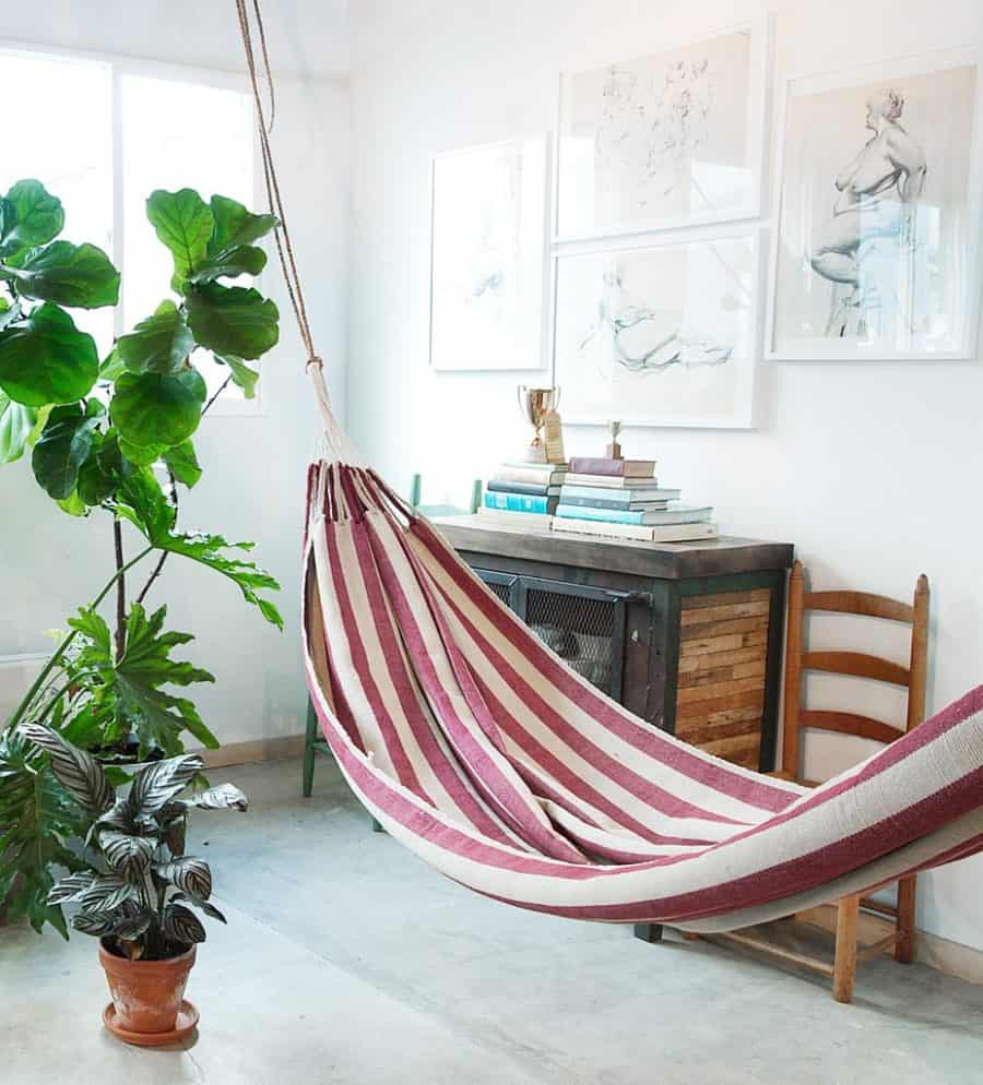 striped indoor hammock