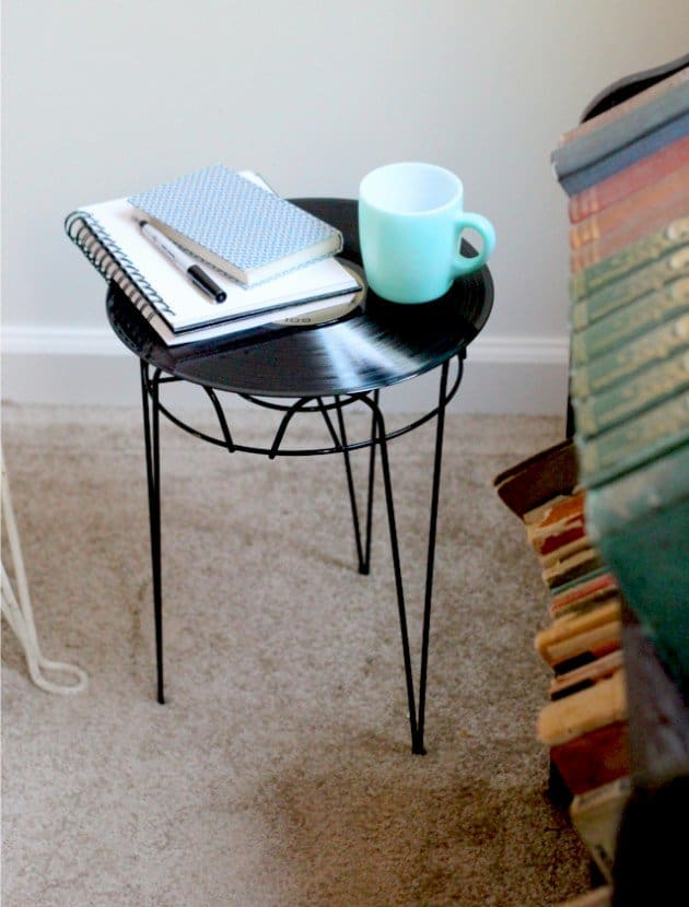 upcycled vinyl record table