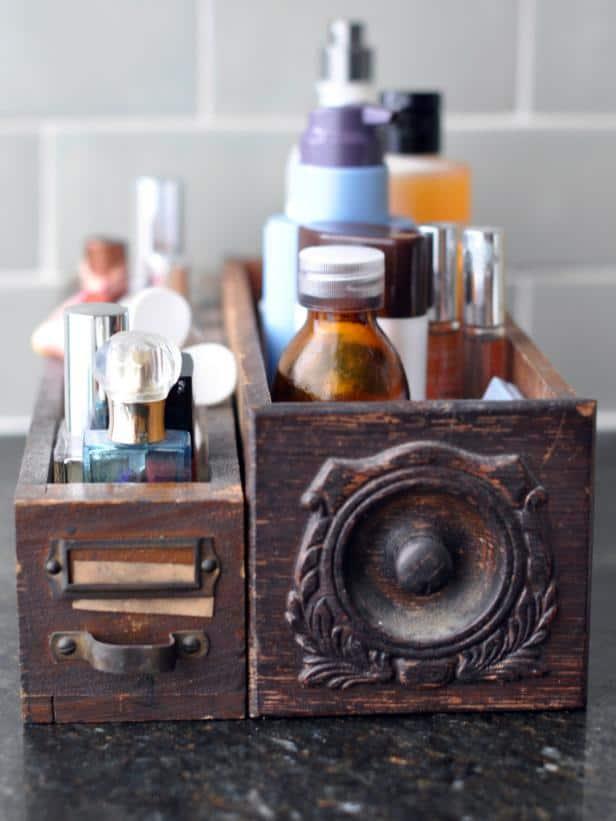 vintage wooden drawers in bathroom