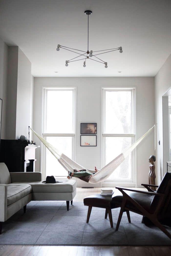 white modern indoor hammock
