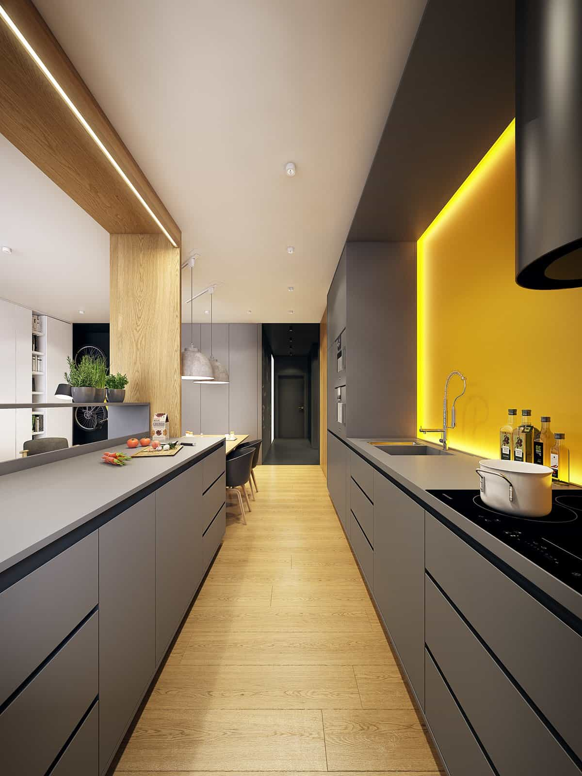 Tidbits of yellow work well in a darker decorated kitchen, it brings the darker hues back to life while softening the appearance of them.