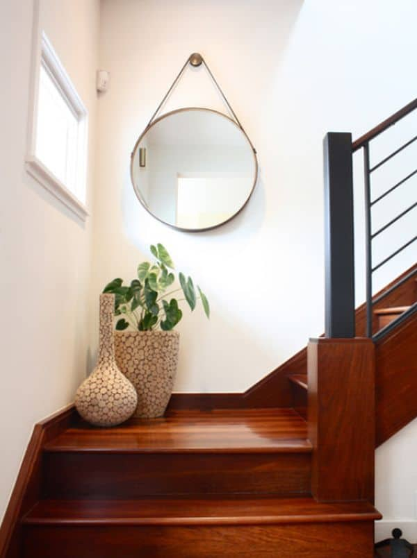 Staircase landing mirror hang 15 Unique and Trendy Staircase Decorations