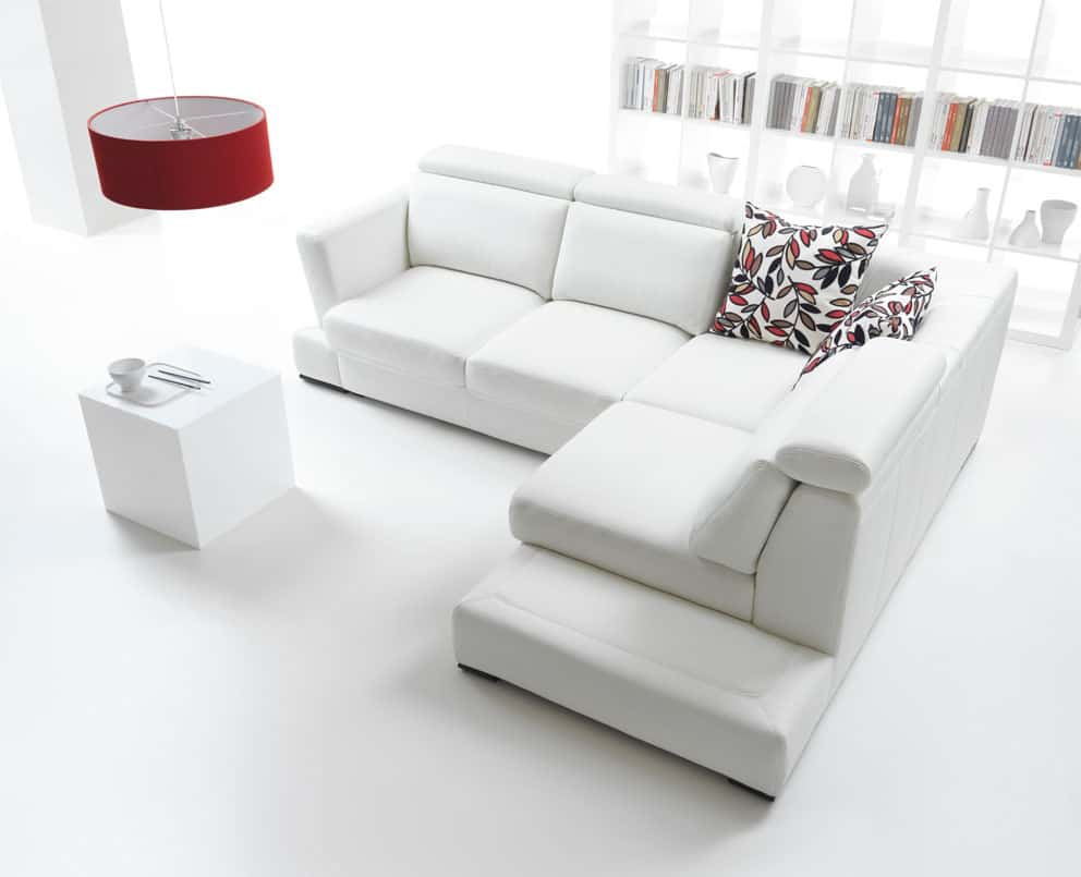 all white living room with pop of color