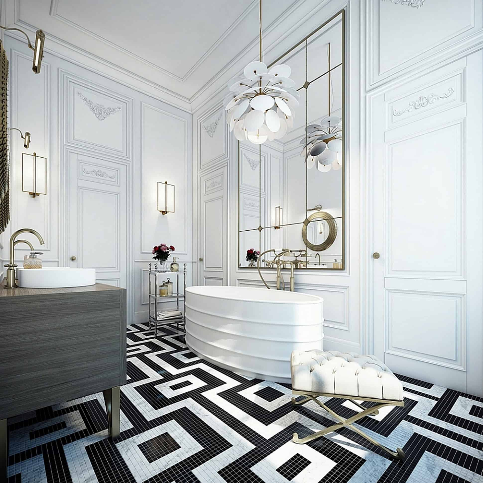 art deco bathroom Black And White Bathroom Ideas That Will Never Go Out Of Style