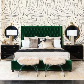 Pop a few daring patterns to bring your eyes to the decor while allowing the color to stand out on its own.