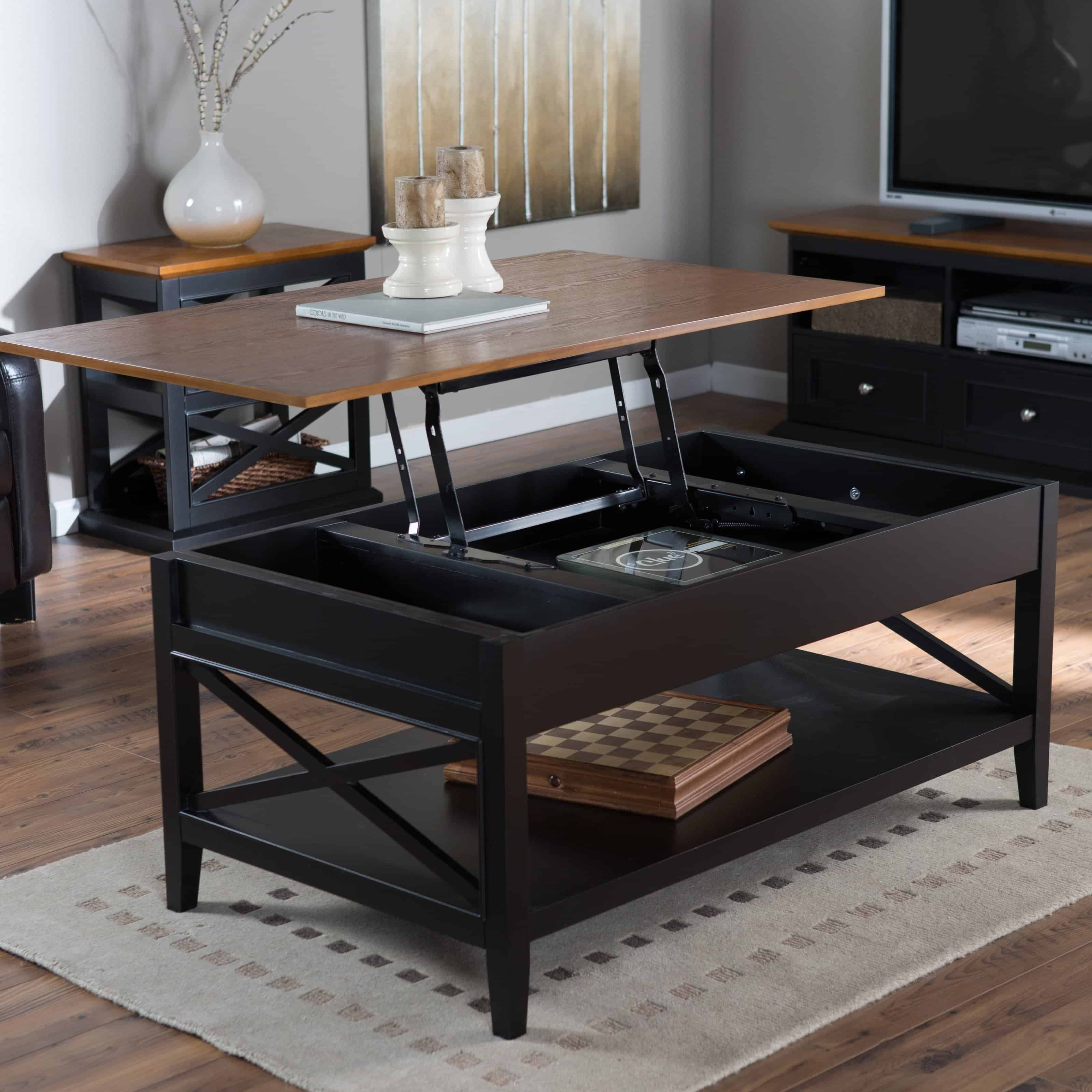 black and brown lift top coffee table