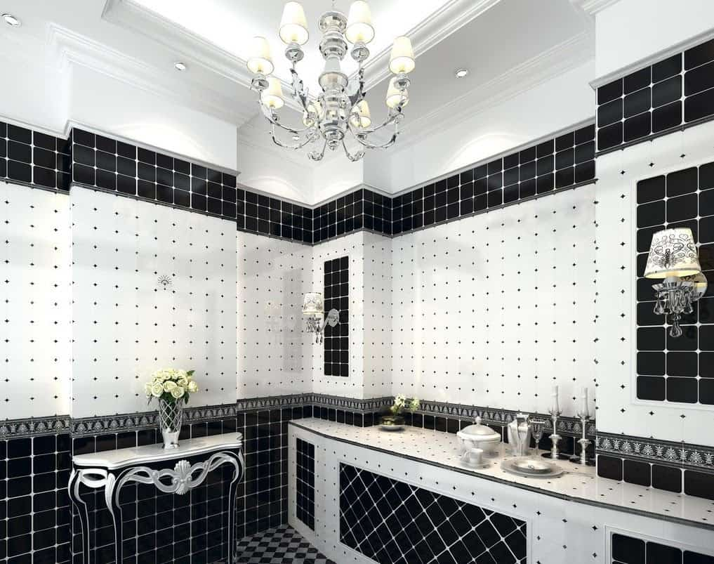 Black tub white tiles