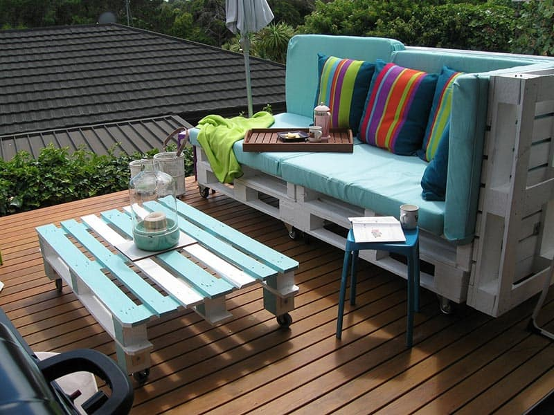 diy rustic striped pallet patio furniture