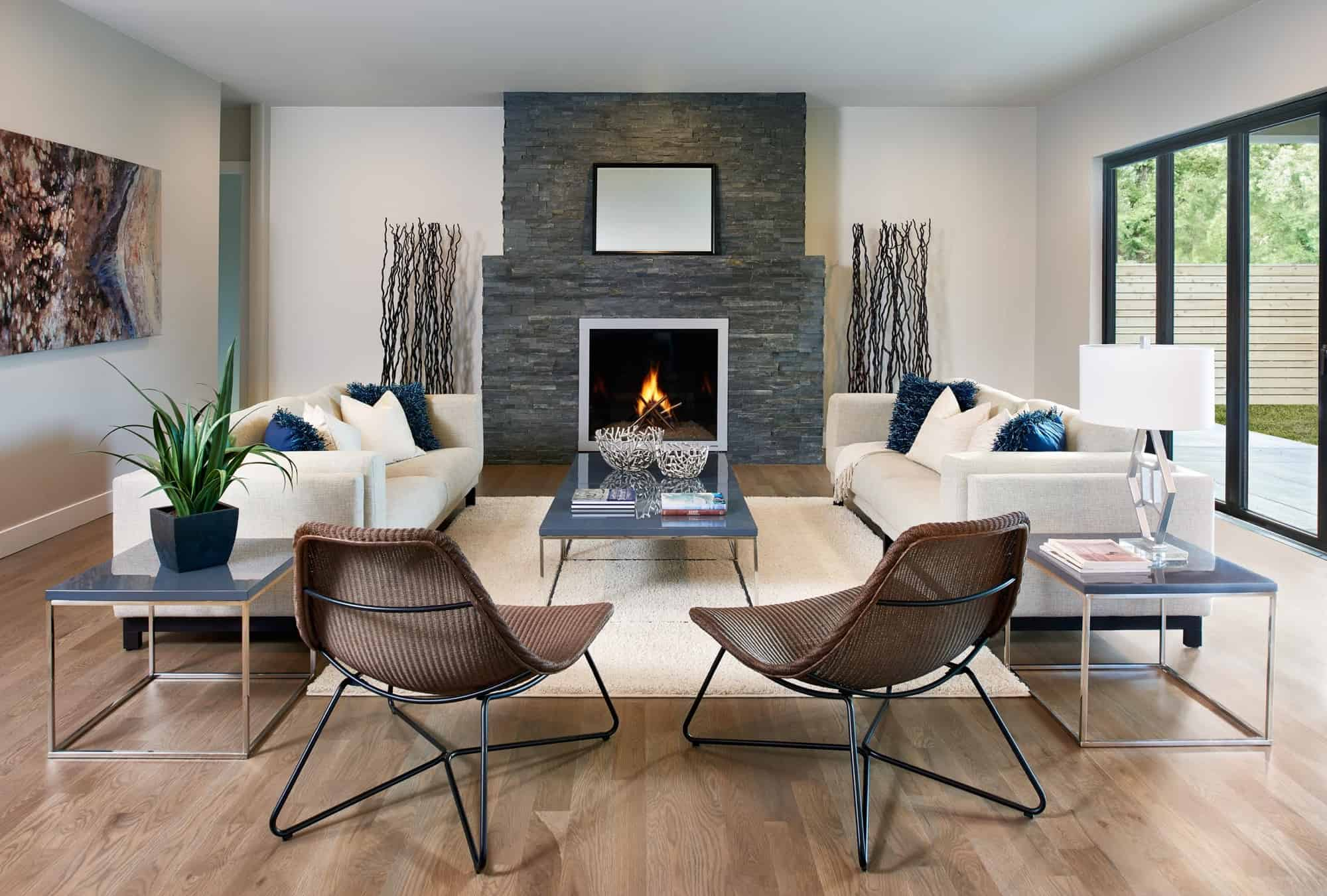 mid-century with fireplace
