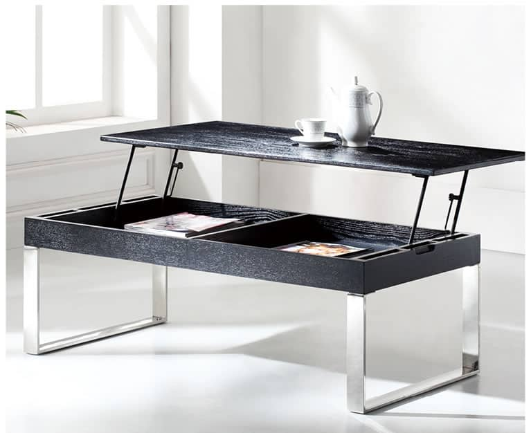 modern black and silver lift top coffee table