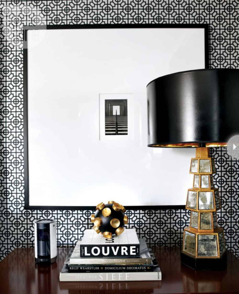 modern black and white nighstand decor