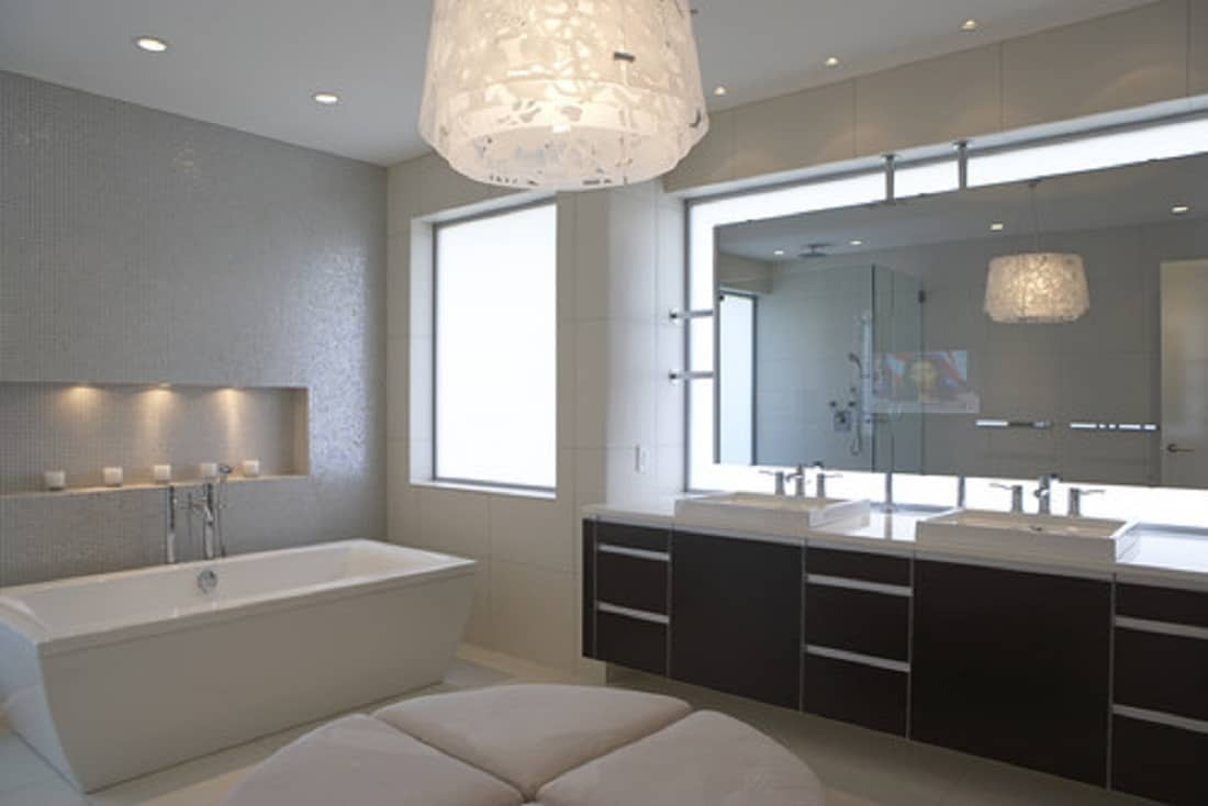 modern light fixture in the bathroom Bathroom Lighting Ideas For Every Style