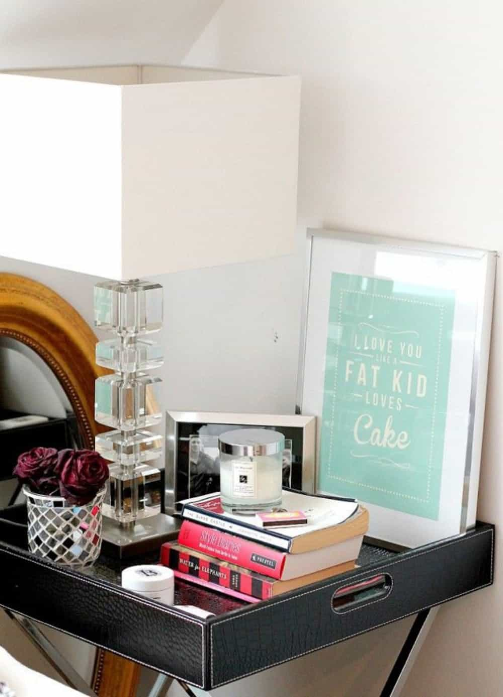 tray table nightstand decor