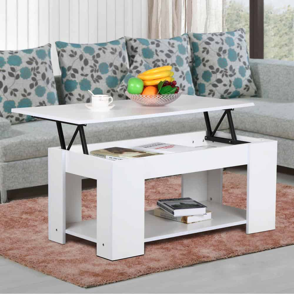 white lift top coffee table