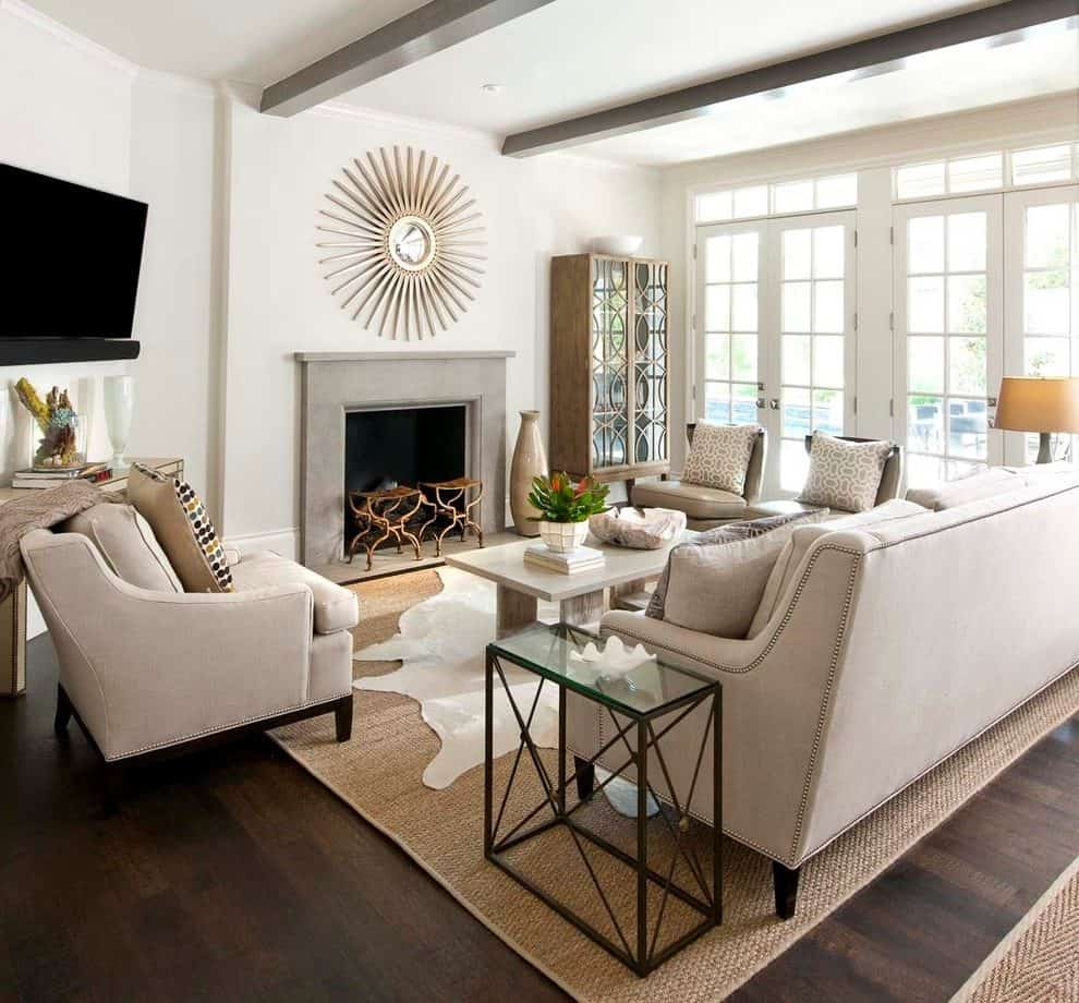 white living room with cowhide rug