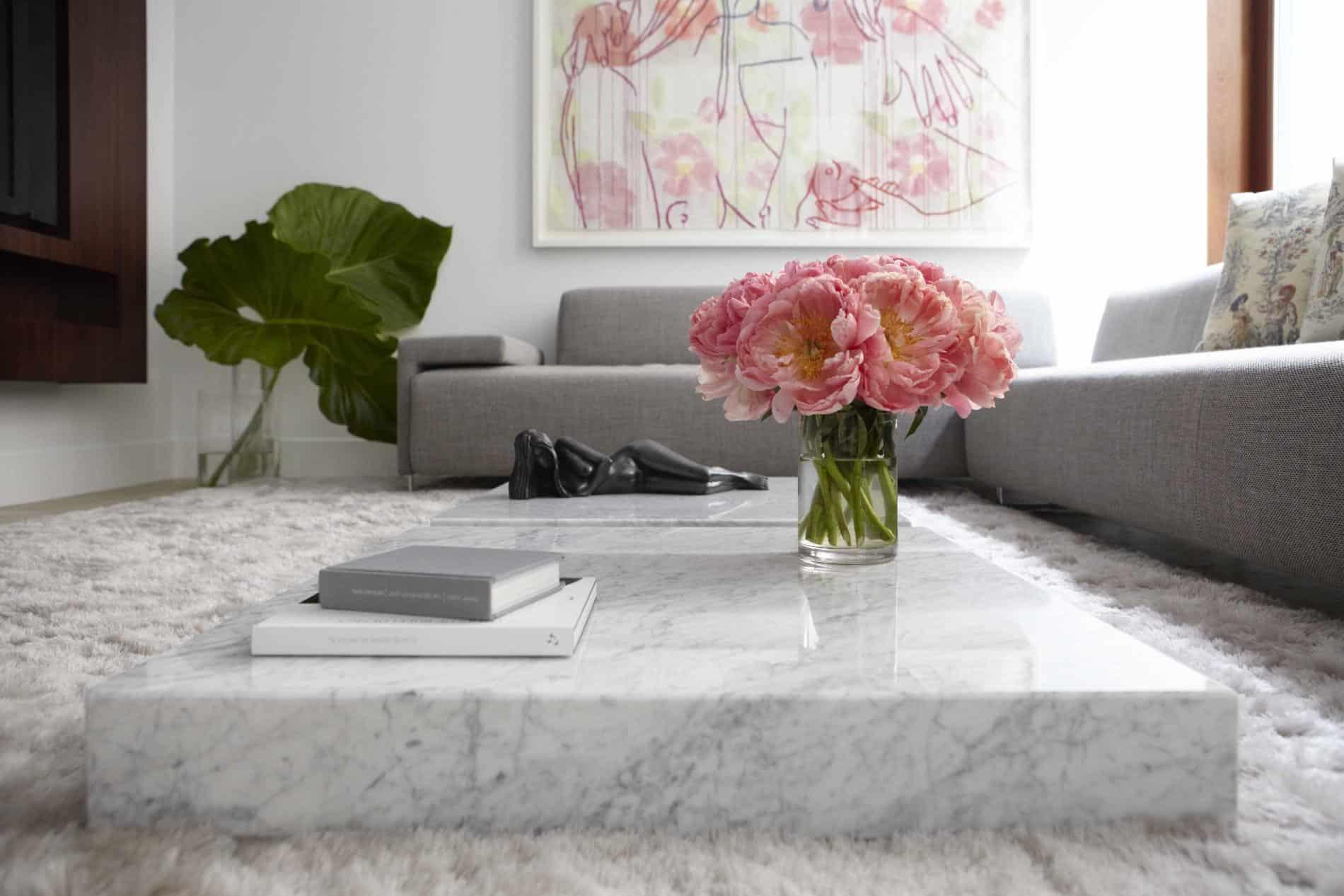 white marble on living room