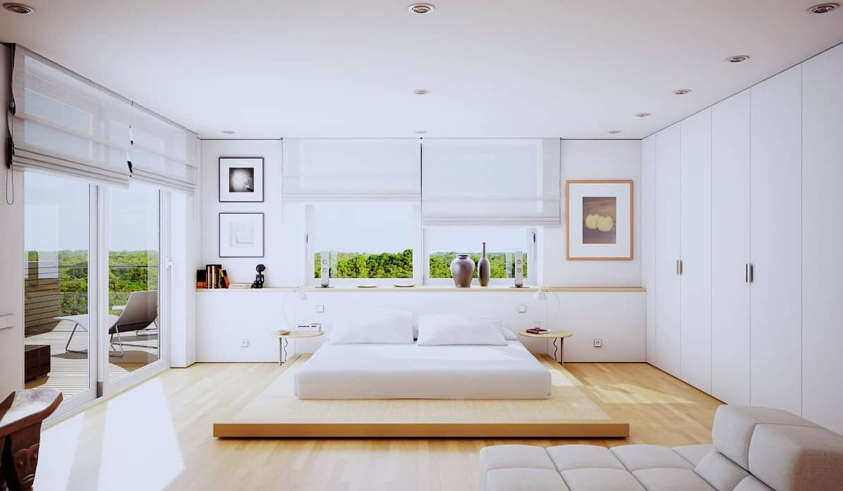 white platform bedroom