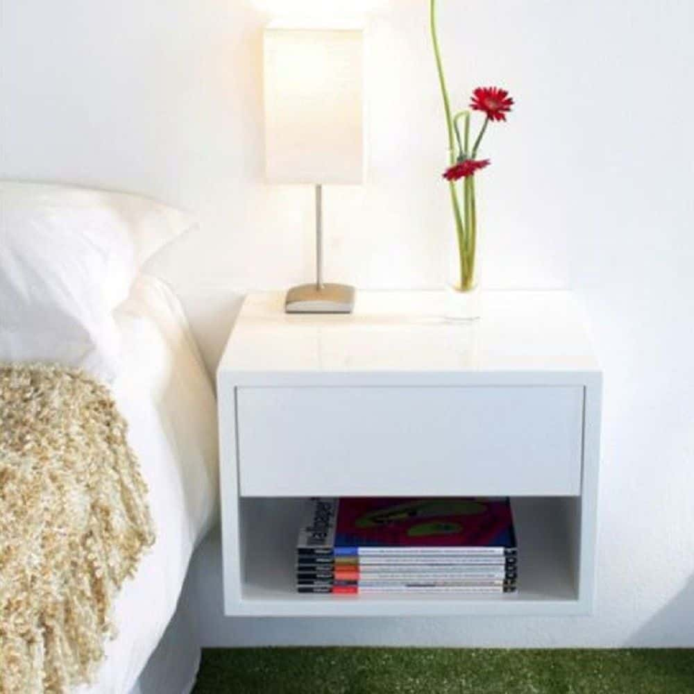 white simple modern nightstand