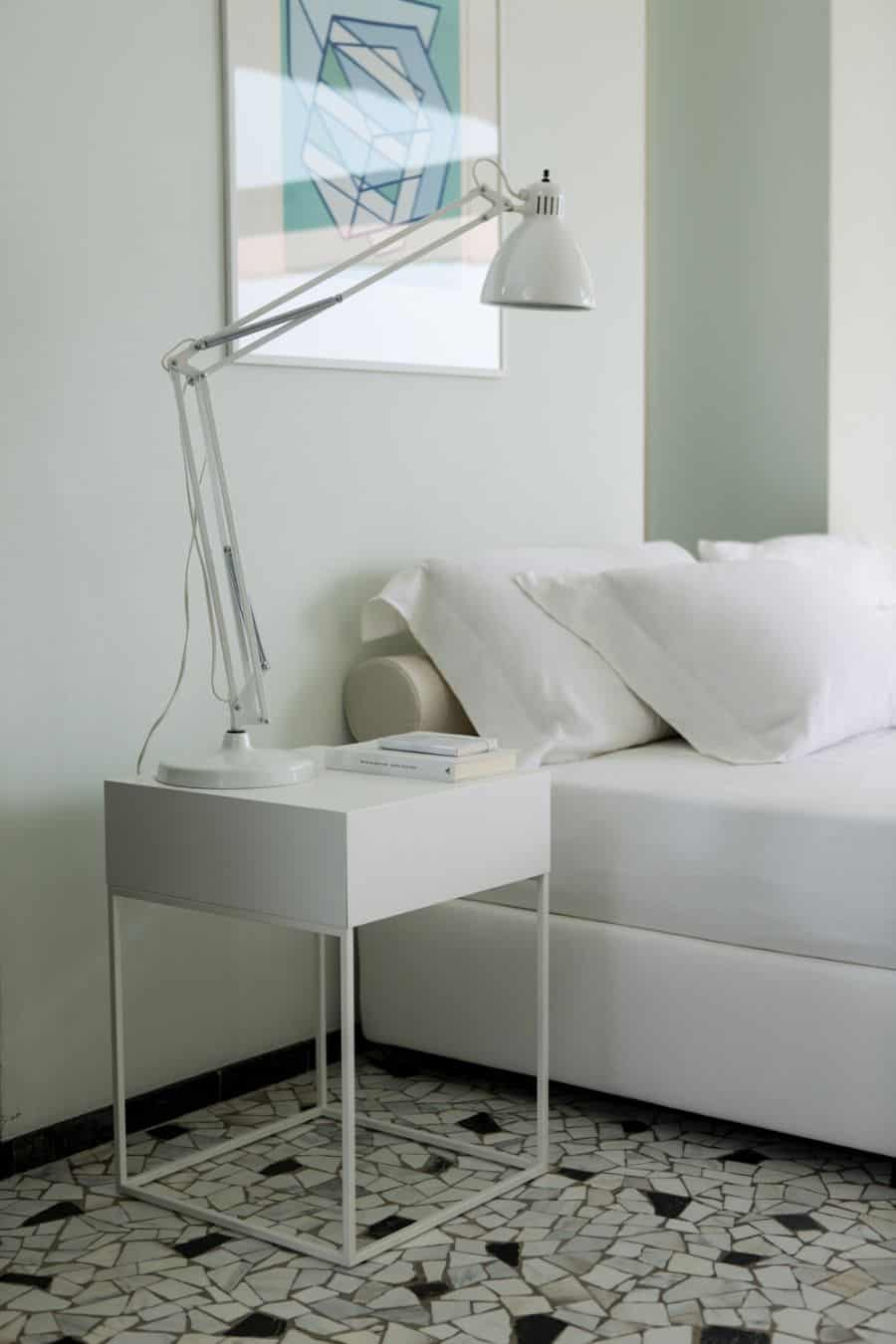 white simple nightstand