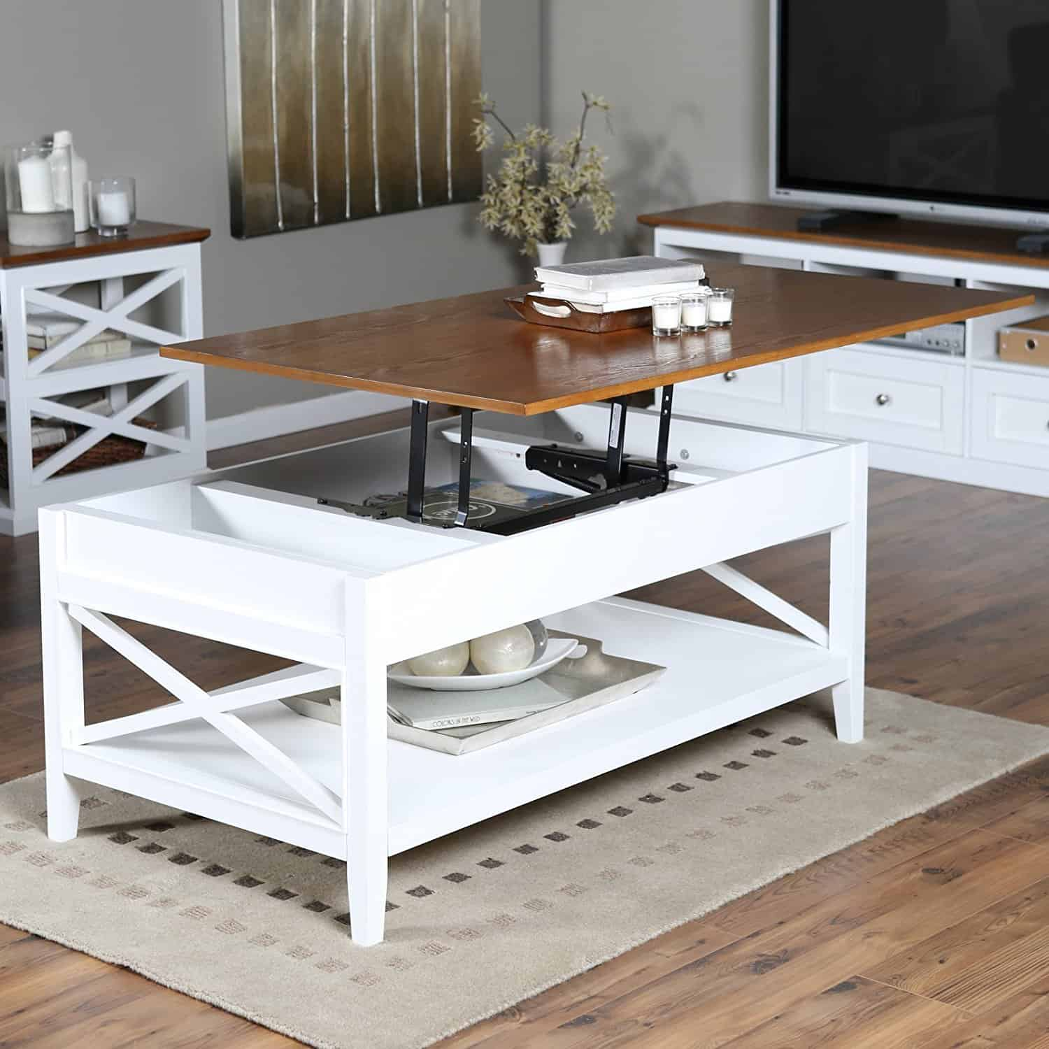 wood and white lift top coffee table