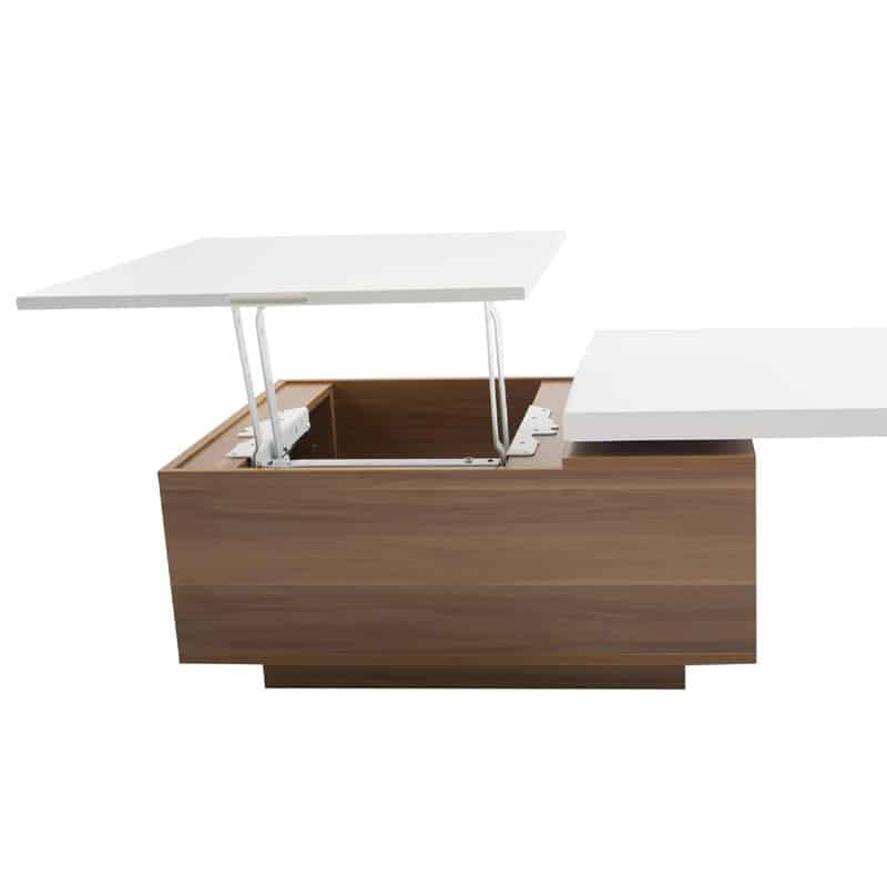 wood and white modern lift top coffee table