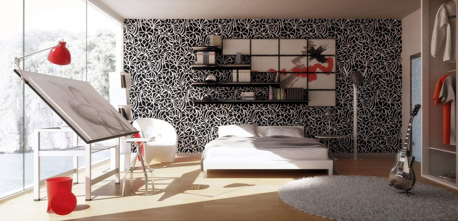 black and white pattern Chic Black And White Bedrooms That Are All The Rave